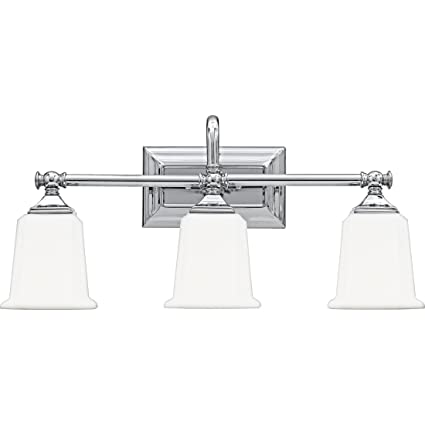 low priced 75272 a3f40 Quoizel NL8603C Nicholas Mid Century Bath Vanity Wall Lighting, 3-Light,  300 Watts, Polished Chrome (10