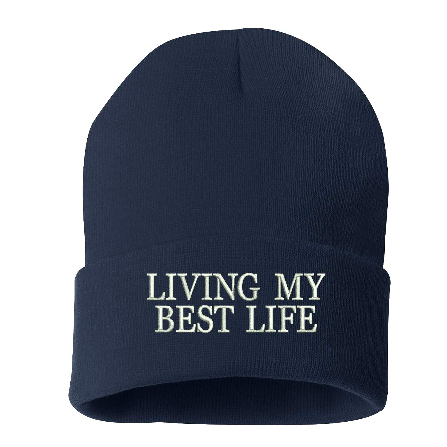 Living My Best Life Embroidered Beanie Cuffed Cap Unisex