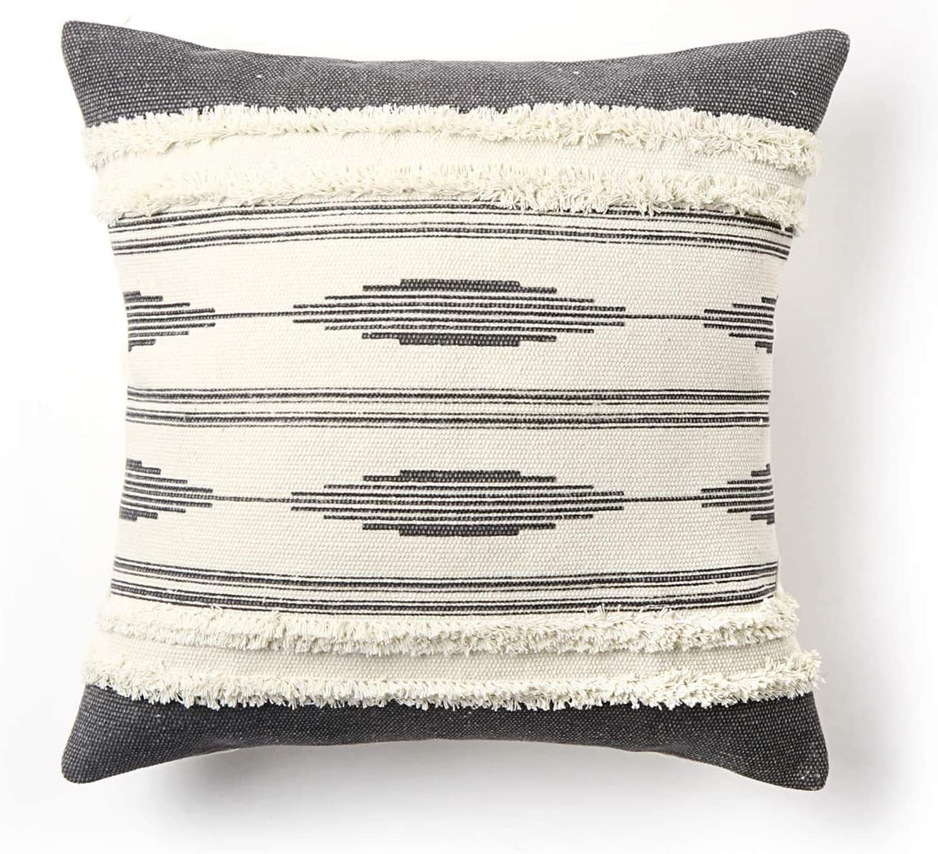 Ailsan Boho Tufted Throw Pillow Cover 18x18 inches Simple Black Euro Hand Woven Pillows Case Geometric Stripes Decorative Cushion Cover for Sofa Couch Bedroom Living Room Office Chair