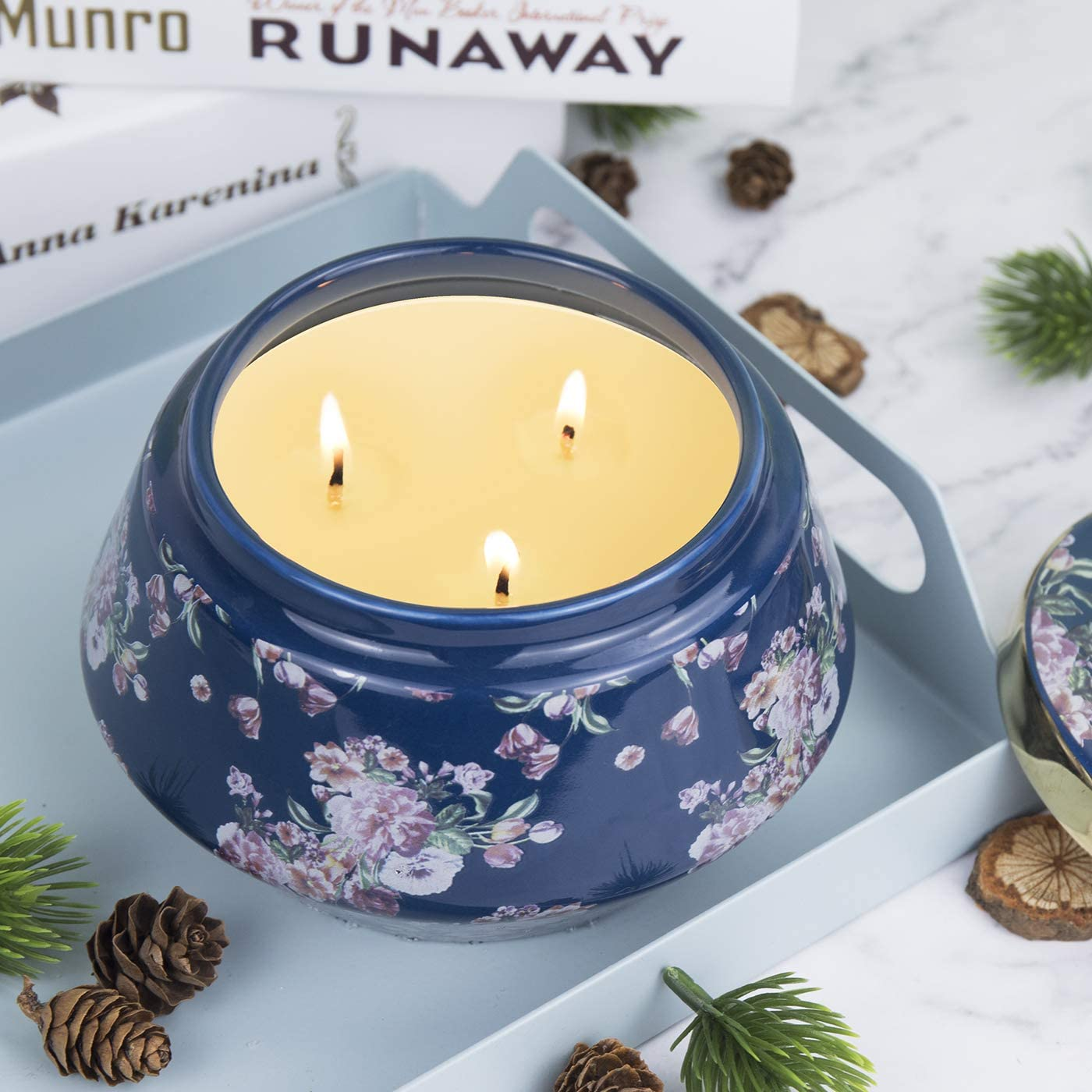 Scented Candle 16OZ Large Ceramic Jar Soy Candle Gift, Bamboo Lime Fresh Home Fragrance, 3-Wick Natural Wax, Birthday Candle Gifts for Women: Home & Kitchen