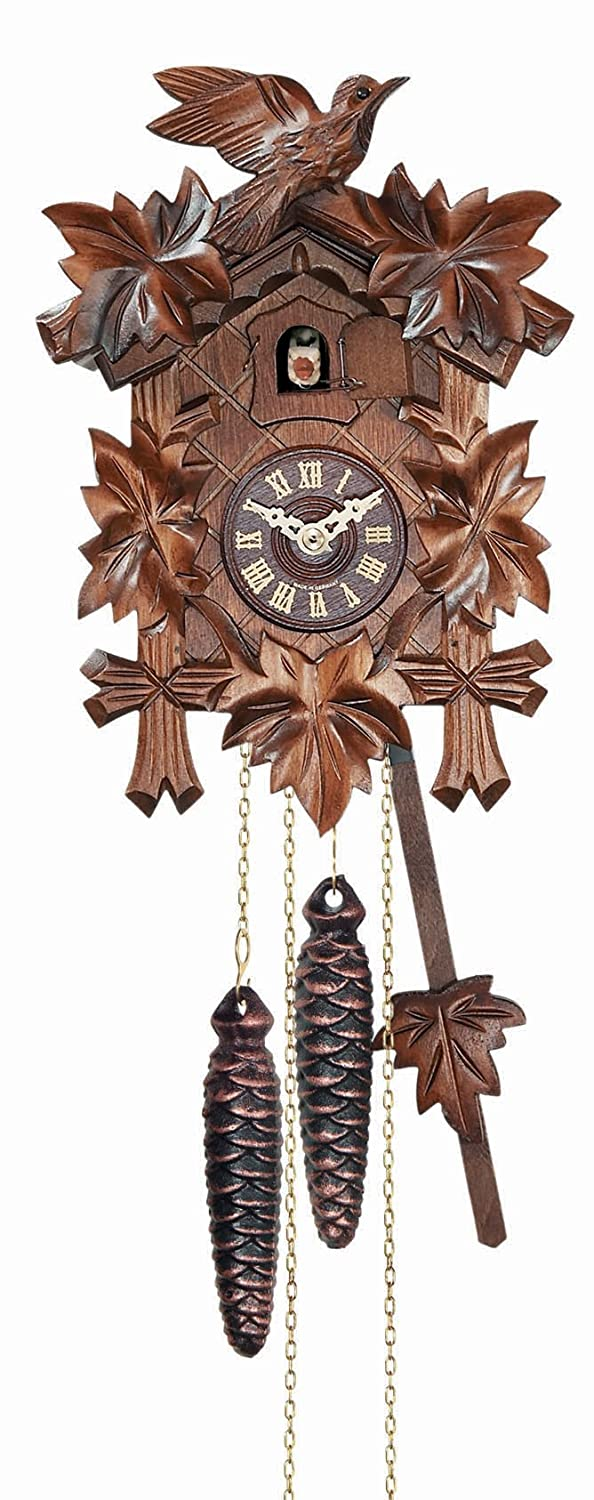 River City Clocks 12 Melody Quartz Cuckoo Clock with Five Leaves and Bird 11-09QM