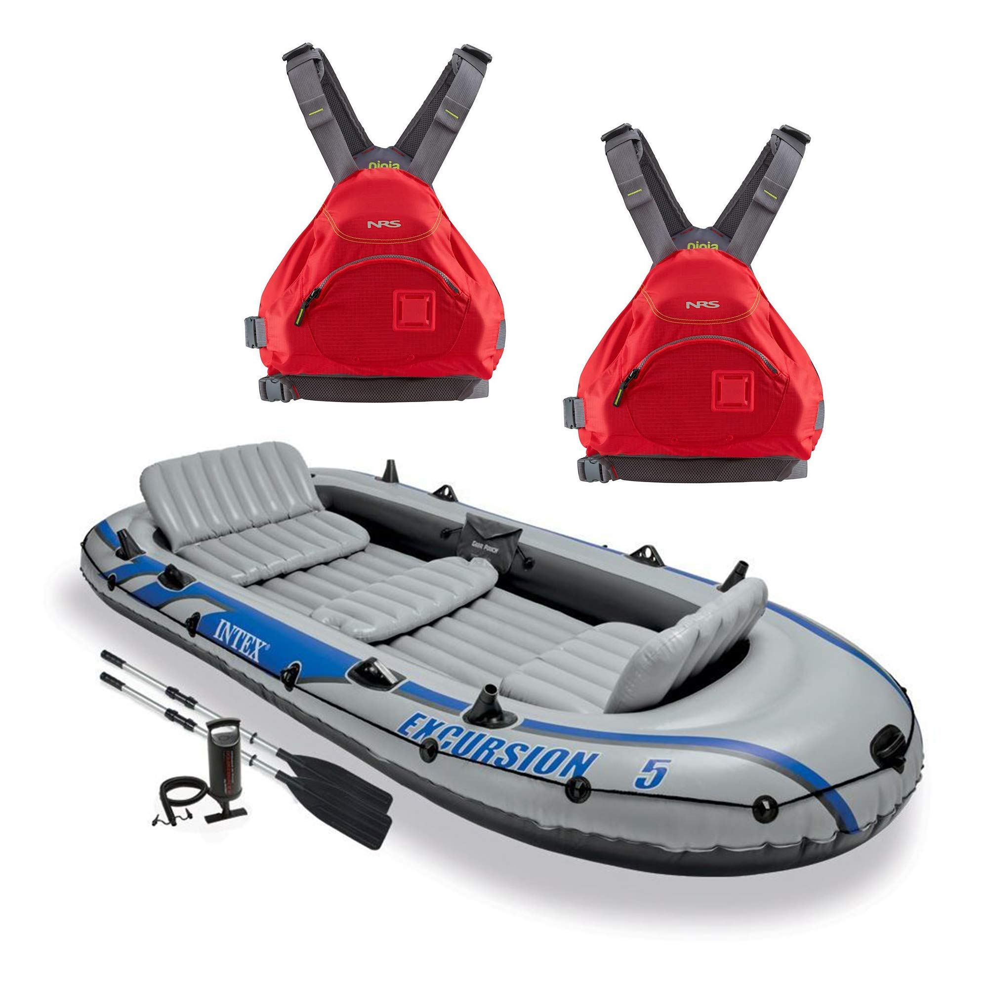 Intex Excursion 5 Person Inflatable Rafting and Fishing Boat Set with 2 OarsNRS Ninja Adult Small Medium PFD Type III Boating Kayak Life Jacket Vest, Red