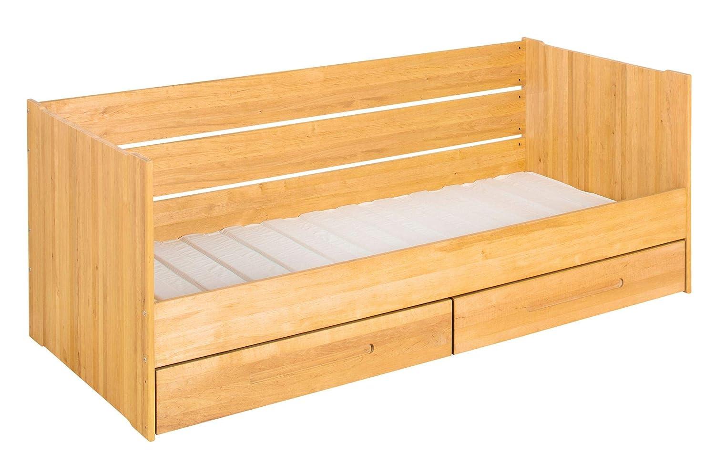 BioKinder Lina Schlafsofa Funktionsbett Kojenbett mit Lattenrost und 2 Bettkästen aus Massivholz Erle 90 x 200 cm