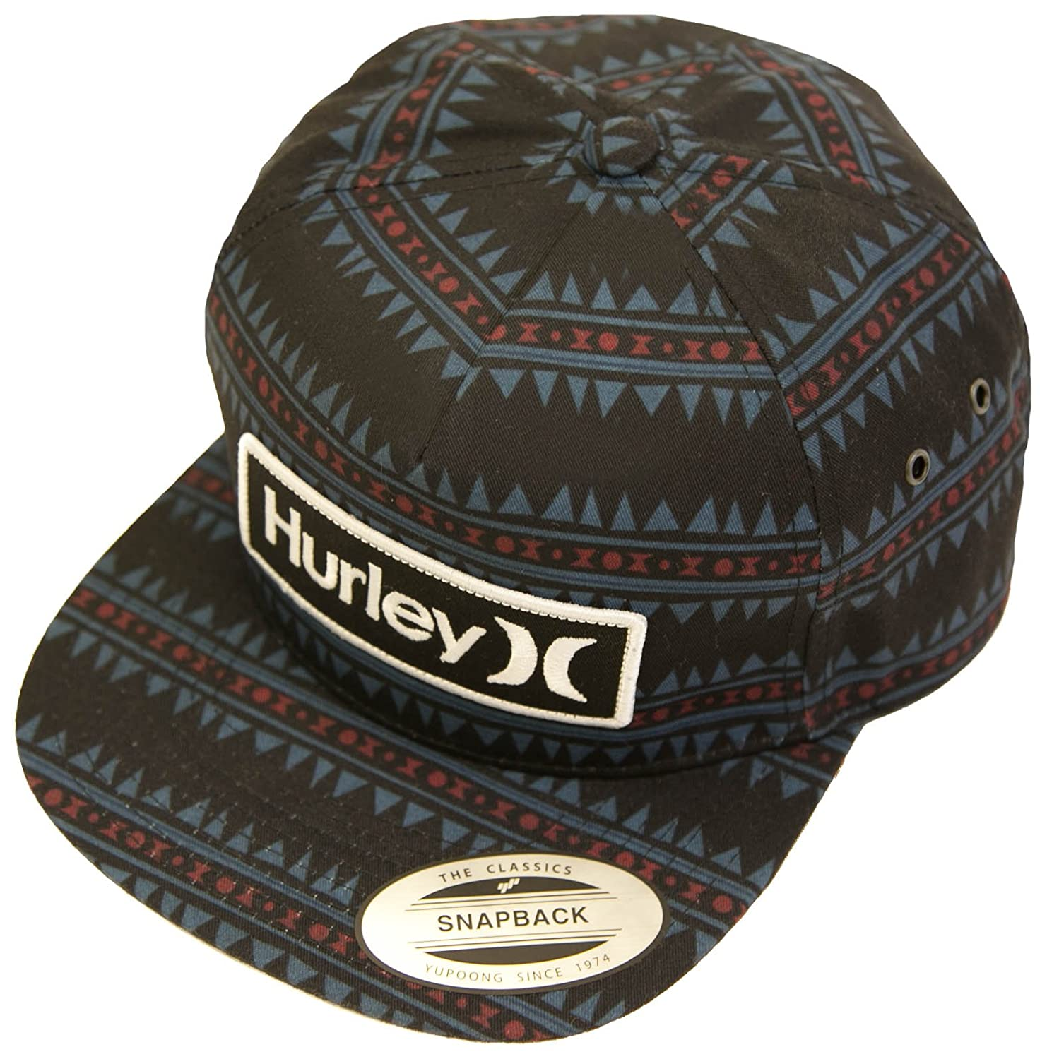 73596669c9401 Hurley Beach Cruiser Classic Snapback Mens Hat OSFM Black Blue Red   Amazon.in  Clothing   Accessories