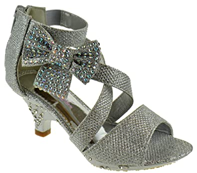 d916dcdc8b92 Amazon.com | Belle Marie Ponce 10 Little Girls Glitter Rhinestone Heeled  Dress Sandals, Silver, 10 | Sandals