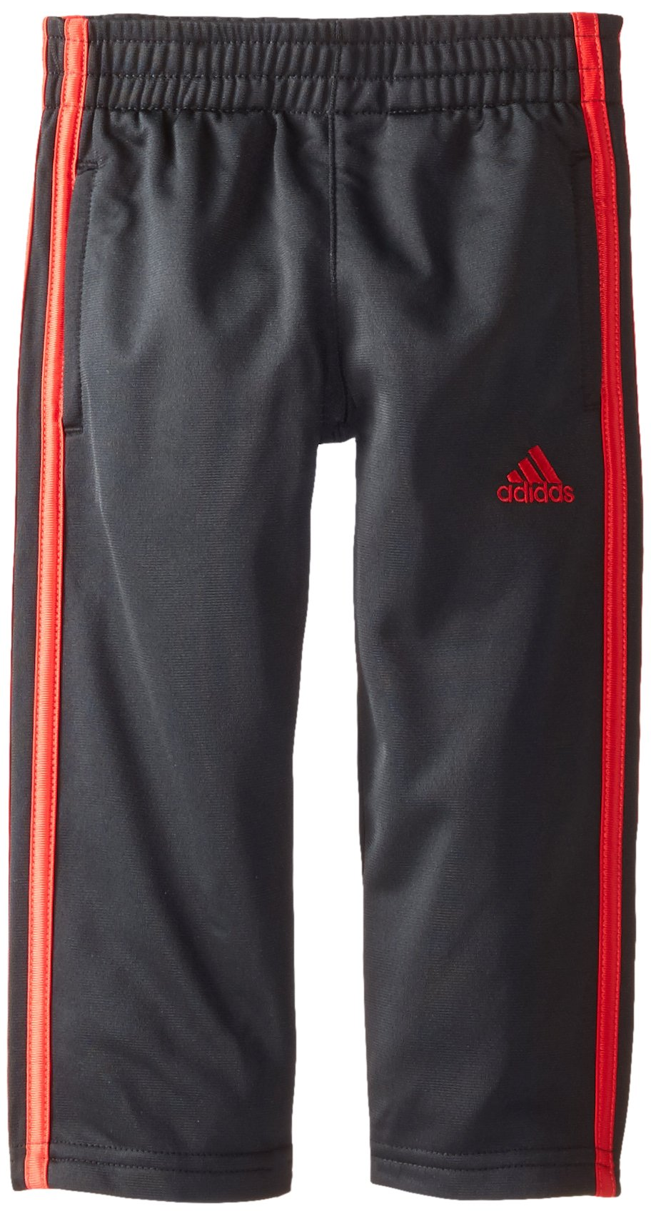 adidas Little Boys' Tricot Pant, Black/Light Scarlet, 5 by adidas