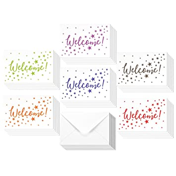 Amazon 36 assorted pack welcome note cards bulk box set 36 assorted pack welcome note cards bulk box set blank on the inside m4hsunfo Gallery