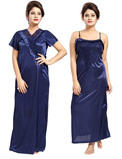 Be You Satin Dark Blue Plain 2 pieces Nighty Set for Women  Amazon ... ae6c6ce08