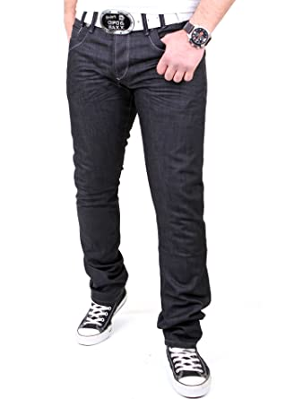 Reslad Herren Jeans Dark Washed Denim Authentic Look Jeanshose RS-5896  Schwarz W32 f70d3d5958