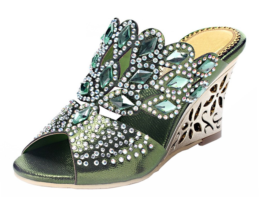 Honeystore Women's Rhombus Rhinestones Handmade Party Wedge Sandals B00LC23BUQ 8 B(M) US|Green