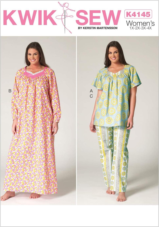 KWIK-SEW PATTERNS K4145 Womens Top Nightgown /& Pants