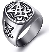 Elfasio Stainless Steel Rings for Men Sigil of Lucifer Seal of Satan Devil Demon Symbol Jewelry