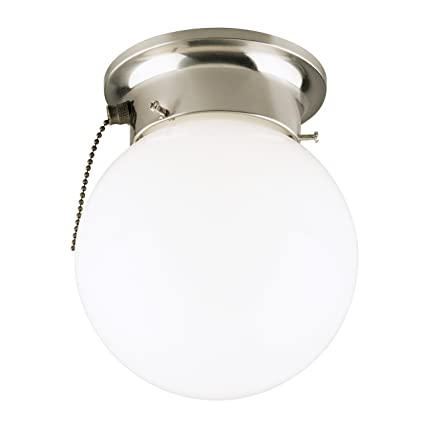 Westinghouse 6720800 One Light Flush Mount Interior Ceiling Fixture With Pull  Chain, Brushed