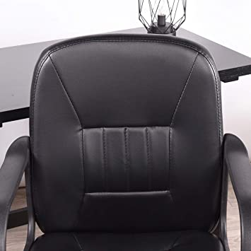 Amazon.com: FurnitureR Office Chair Ergonomics Computer Chair PU Leather Armrest Ajustable Swivel Chair Black: Kitchen & Dining