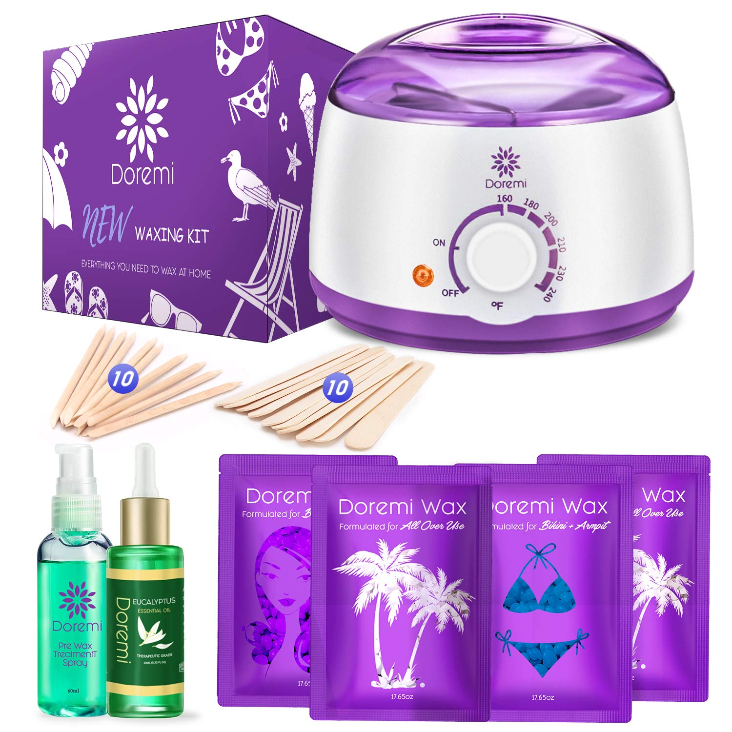 Doremi New Waxing Kit, Painless Hair Removal Home Kit,Multiple Formulas Target Different Type of Bikini, Facial, Armpit,Eyebrows, with Hot Wax Warmer, 4 Hard Wax Beans and 20 Wax Applicator Sticks by Doremi