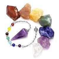 JSDDE 7 Chakra Raw Stones Rough Rock Crystals and Natural Gemstone Dowsing Pendulum, Reiki Healing Balance Meditation Jewelry Set(Amethyst)