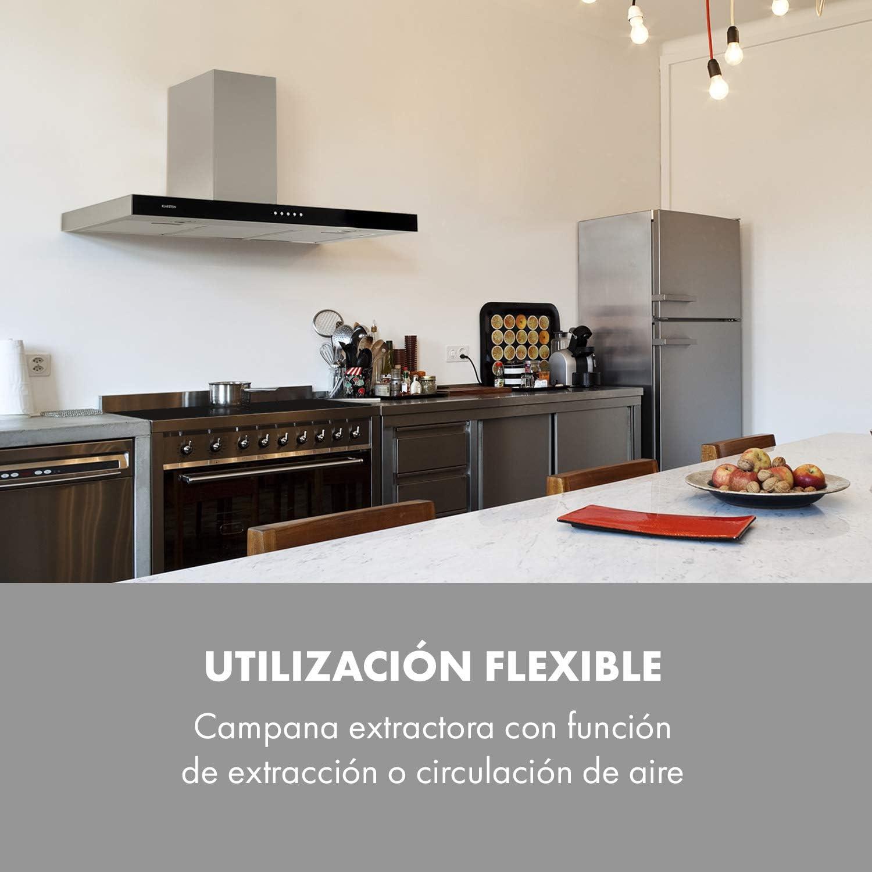Klarstein Darya extractor de humos de pared - Clase A, 90 cm, extracción de 310 m³/h, 2 filtros de grasa de aluminio, 66 dB, acero inoxidable, frontal negro de vidrio acrílico, ventilación,