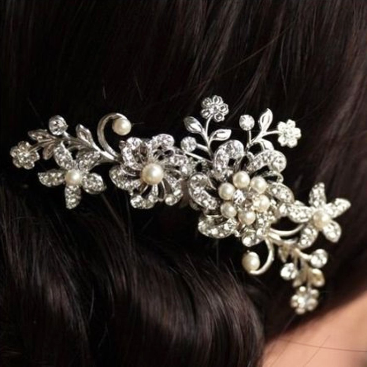 PANYTOW Fermaglio per capelli con strass, perle e fiori, da sposa Generic GMMH6022