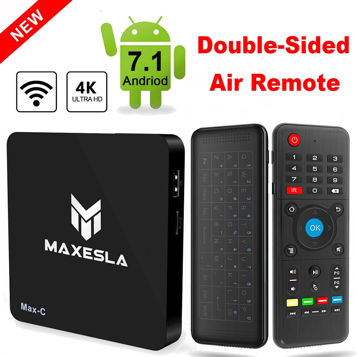 Android TV BOX - Maxesla Max-C Android 7.1 Smart TV Box with Upgrade Amlogic S905W Quad Core, 1G RAM + 8G ROM, 4K UHD H.265 Video Decoder, Wifi Internet Media Player + Air Remote Control with Keyboard