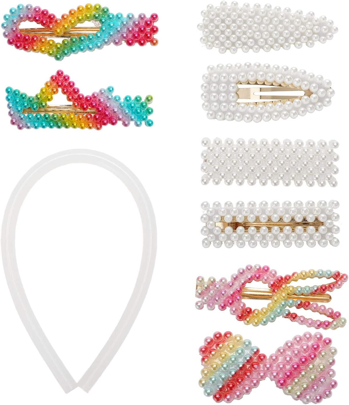 AKIMO 8Pcs Pinzas de pelo de perlas coloridas para mujeres Señoras Niñas Niño Bebé - Se ofrece 1 bastón de pegamento caliente, perfecto para fiestas, bodas, cumpleaños, San Valentín