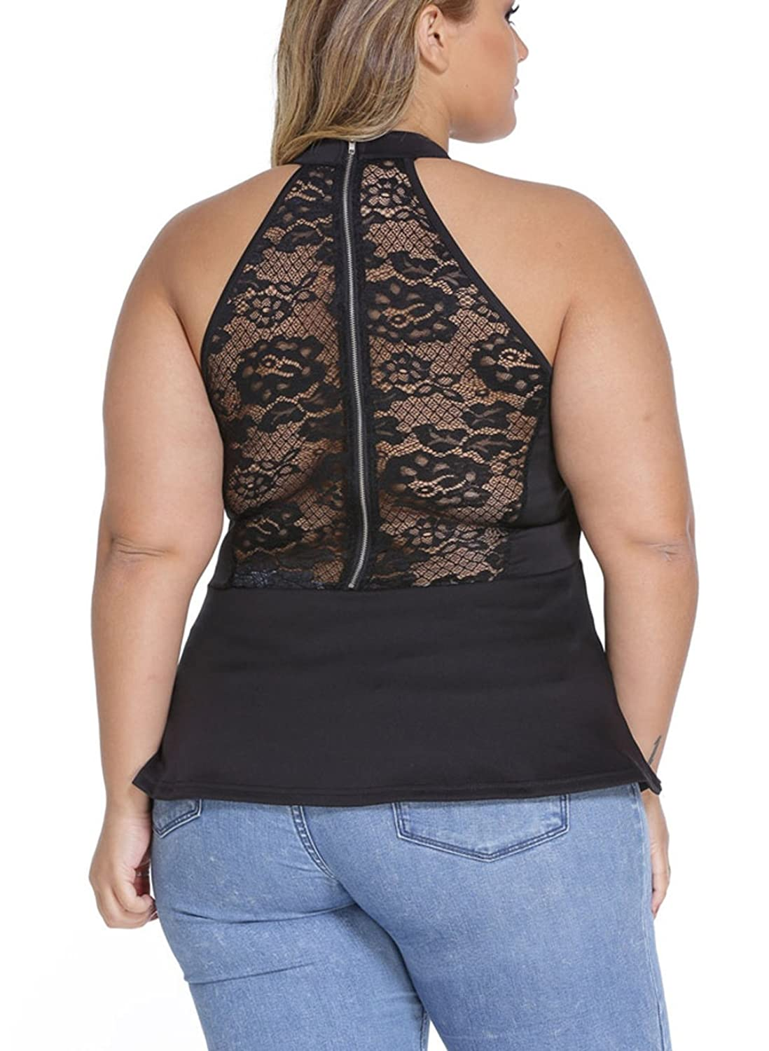 Fashionmore Women's Plus Size Solid Color Round Neck Sleeveless Lace Peplum Tops