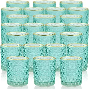 SHMILMH Aqua Glass Candle Holder Set of 24, Tealight Holders Bulk, Votive Candle Holders, Christmas Candle Holder,Table Centerpiece for Home Decor, Wedding, Thanksgiving Decoration