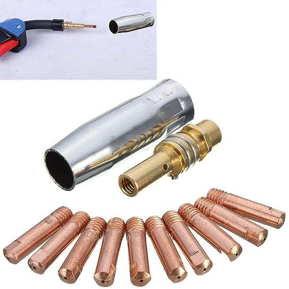 Merssavo 12Pcs MB 15AK MIG / MAG Contacto Consejos de Soldadura 0.8x25mm M6 Gas Boquilla Consejo Titular Accessaries: Amazon.es: Bricolaje y herramientas