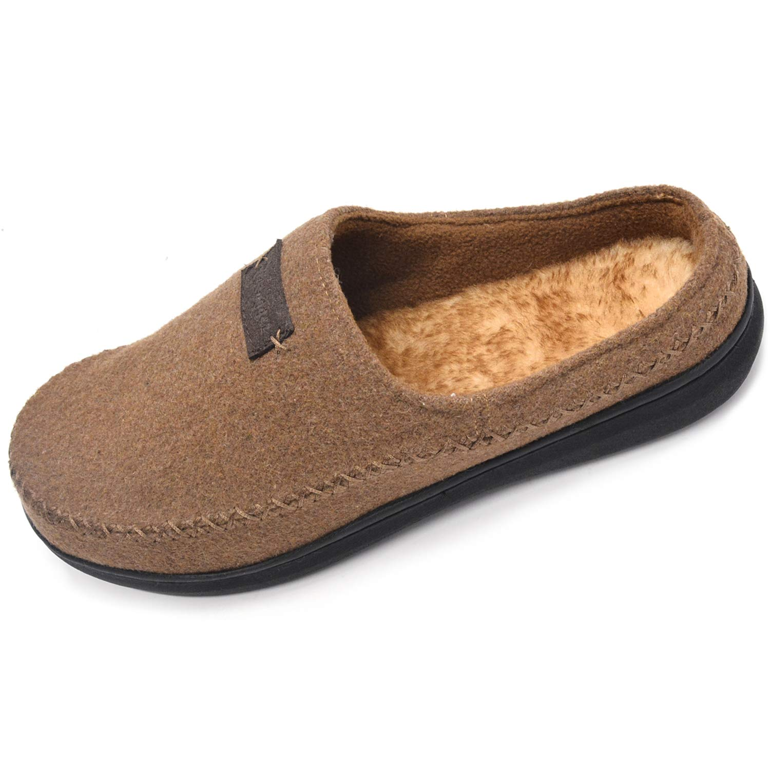 Zigzagger Men's Faux Wool Western Style Memory Foam Indoor Outdoor Clog Moccasin Slip On House Slippers