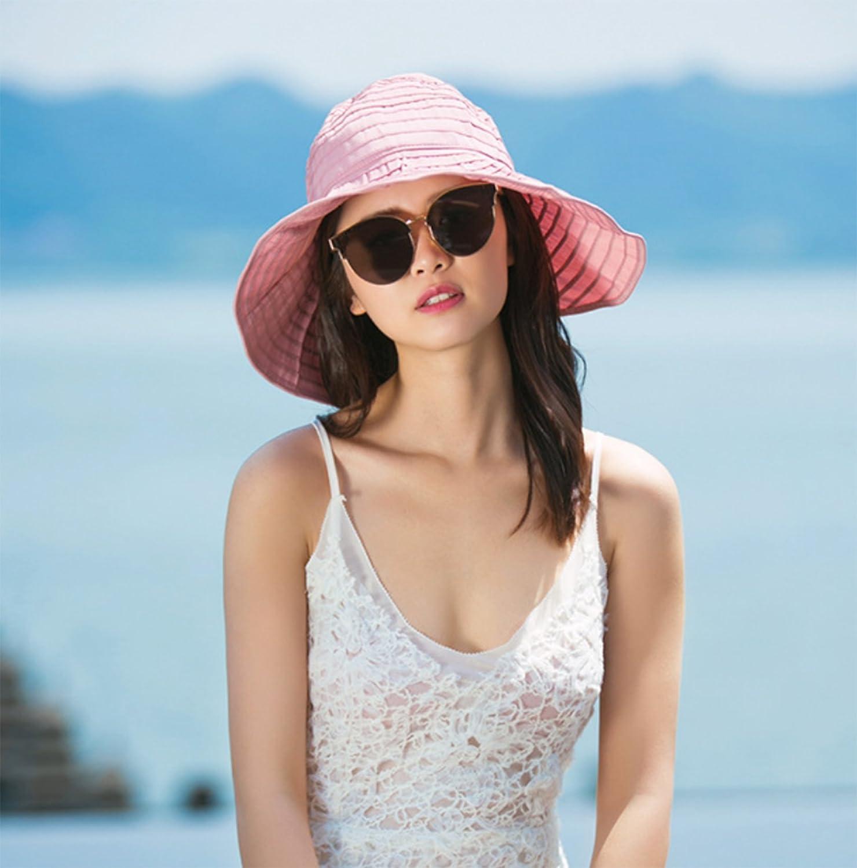 Elonglin Womens Beach Hat Visor Roll up Sun Hat Wide Brim Foldable Beach Cap for Summer Travel