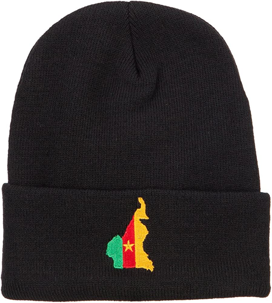 e4Hats.com Cameroon Flag Map Embroidered Long Beanie