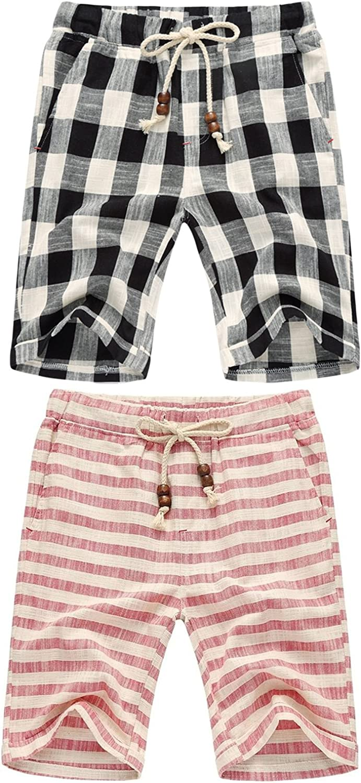 sandbank Men's Summer Casual Linen Drawstring Striped Beach Shorts