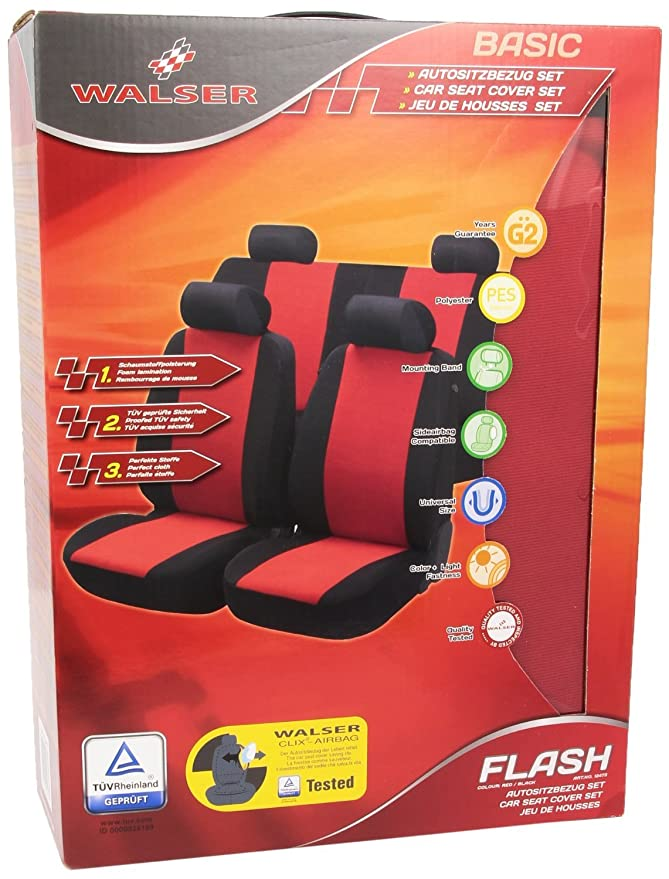 Walser AM12473 Top Universal Car Seat Cover Flash Red Black Amazoncouk Motorbike