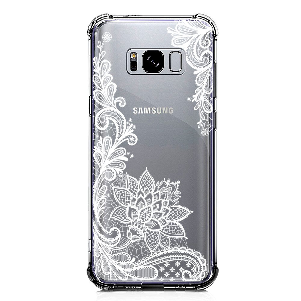 Galaxy S8 Plus Case Clear with Lace Design Shockproof Protective Case for Samsung Galaxy S8 Plus 6.2 Inch Cute Henna Flowers Pattern Flexible Slim ...