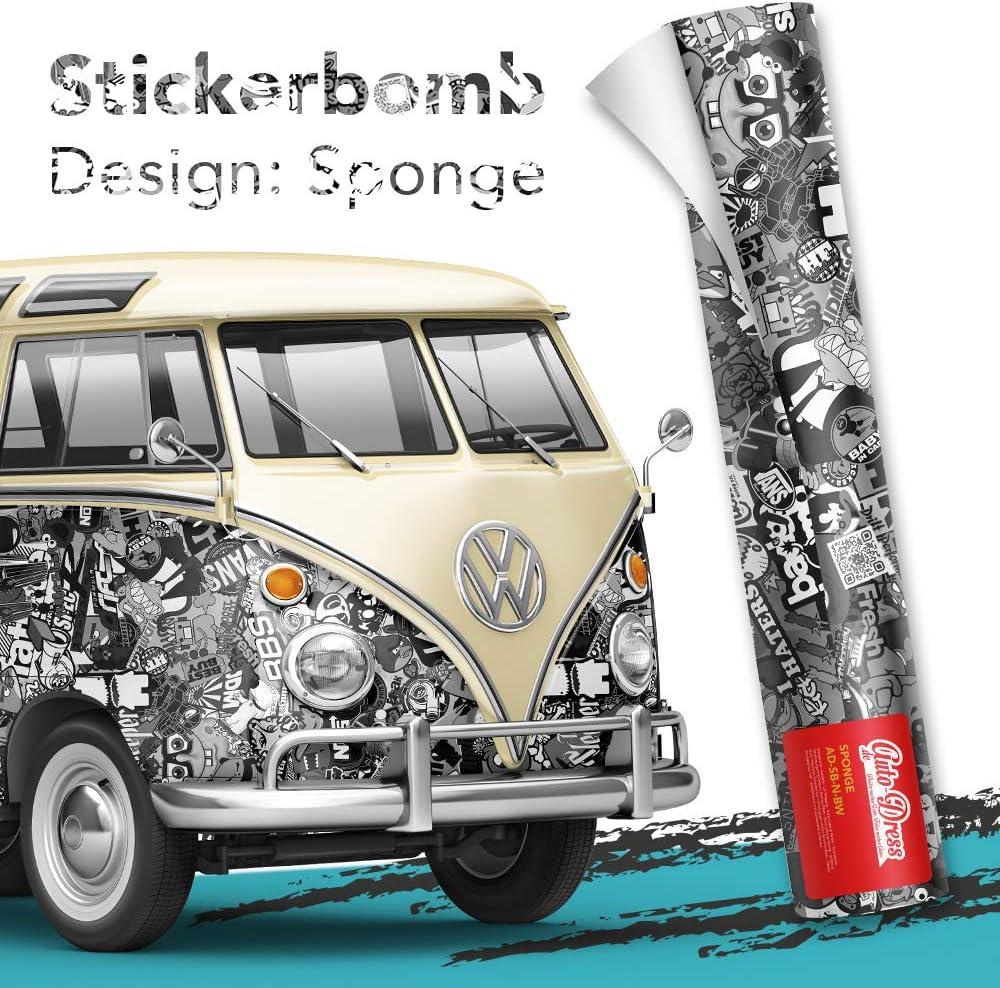 Sticker Logo Bomb 30x150cm Stickerbomb Auto Folie in schwarz//wei/ß Gl/änzend JDM Aufkleber Design: BWN