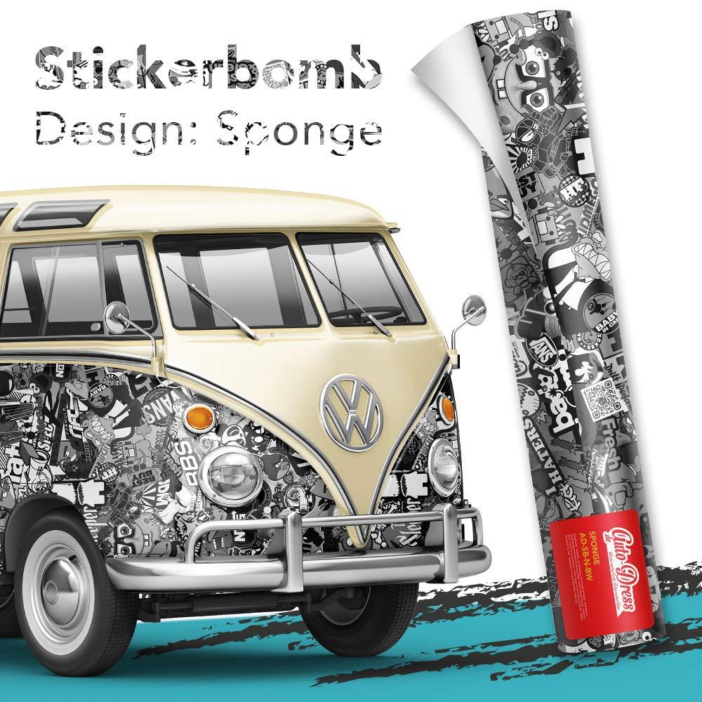 Alle Designs- alle Größen: Stickerbomb Auto Folien glänzend oder matt - Marken Sticker Bomb Logos- JDM Aufkleber (30x150cm, BWN schwarz weiß glänzend) Auto-Dress©