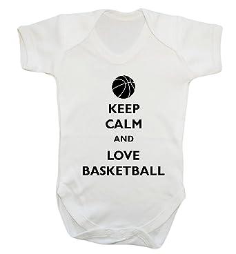 Keep Calm and Love Baloncesto bebé Chaleco Body de Babygrow Blanco ...