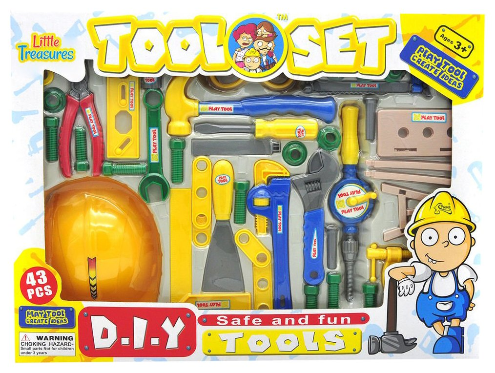 includes hammer and screwdriver along with costume helmet for kids to enjoy an educational tool game Little Treasures t201b wrenches 43 tool pieces for 3+ preschoolers Kids Tool Set pliers nails screws shovel