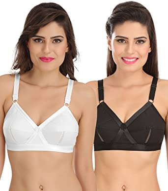 c9371a8ddc Sona Perfecto Women Plus Size Cotton Bra- Full Coverage Non Padded Pack of  2 Size