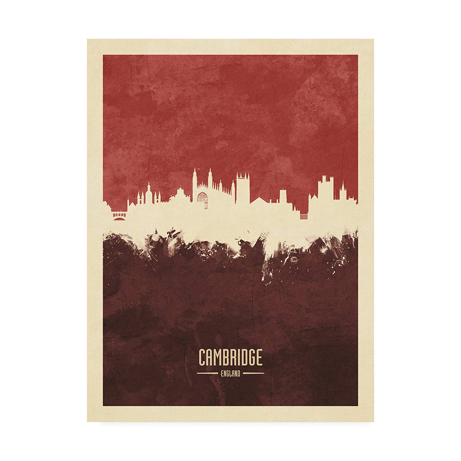 Trademark Fine Art Cambridge England Skyline Red II