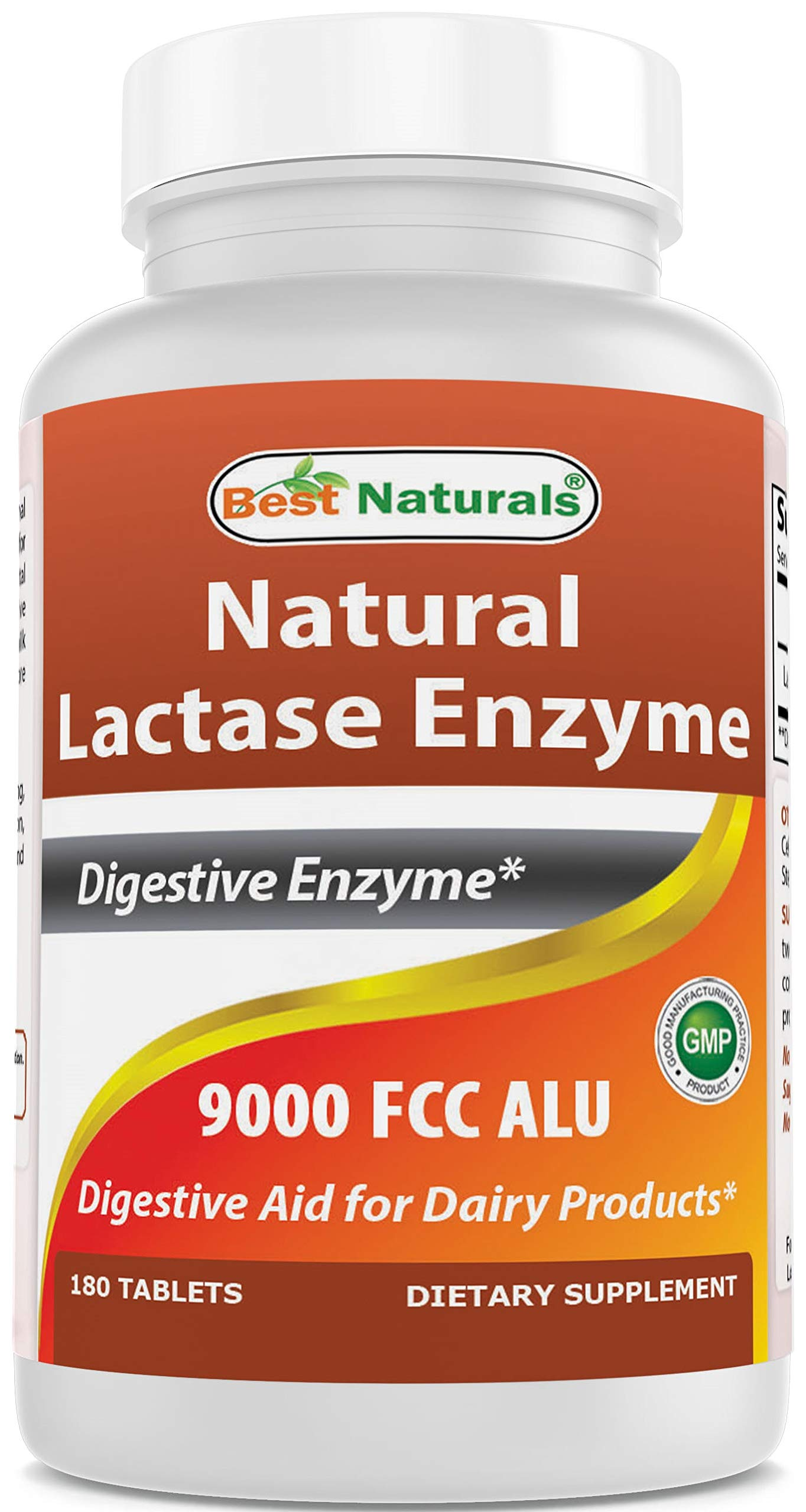 Best Naturals Lactose Intolerance Relief Tablets with Natural Lactase Enzyme, Fast Acting High Potency Lactase, 9000 FCC ALU, 180 Count by Best Naturals