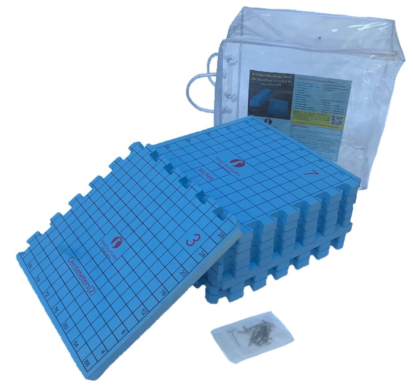 Red Suricata Blocking Mats for Knitting - 2-Sided Extra Thick Blocking Boards with INCH & cm Grids, Coordinates & Straight Edges in Storage Bag - 50 T-pins - for Knit, Crochet, Lace or Needlework