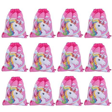 Lote de 12 Mochilas Infantiles Niñas Unicornios - Bolsas Escolares Infantiles Petates Ideales para Detalles de Bodas, Comuniones y Fiestas de ...