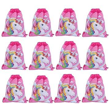 Lote de 12 Mochilas Petates Infantiles Niñas Unicornios - Bolsas Escolares Infantiles Petates Ideales para Detalles de Bodas, Comuniones y Fiestas de ...
