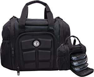 6 Pack Fitness Mini Innovator Meal Prep Management Tote 3 - Meal Stealth (Black/Black)