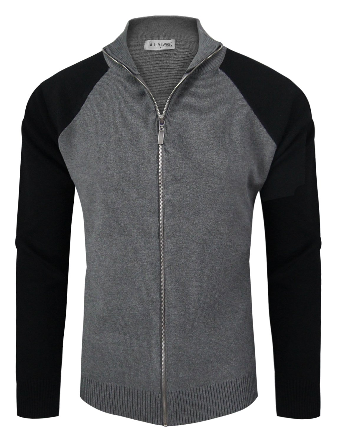 Tom's Ware Mens Stylish Colorblocked Full Zip Cardigan TWHD1016-CHARCOAL-US XL