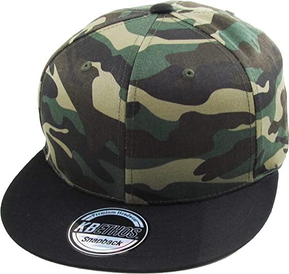 75686988189 KNW-1467 CAM-BLK Cotton Snapback Solid Blank Cap Baseball Hat Flat Brim