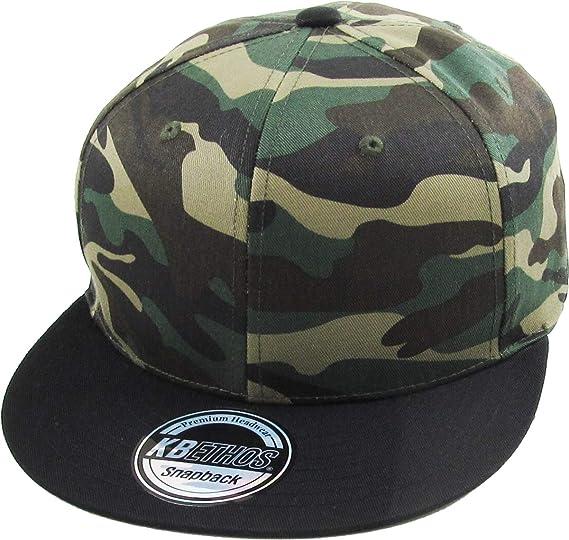 a25c0760503 KNW-1467 CAM-BLK Cotton Snapback Solid Blank Cap Baseball Hat Flat Brim
