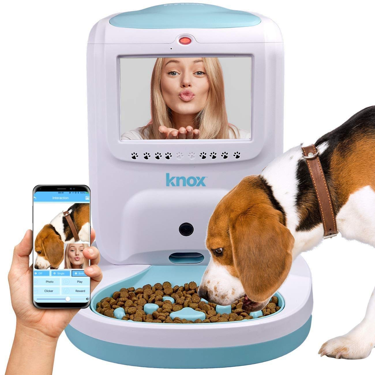 Knox Automatic Pet Feeder With 2 Way Video and Audio Live Interaction and  Recording Electronic Wifi Food and Treat Dispenser for Dogs and Cats -