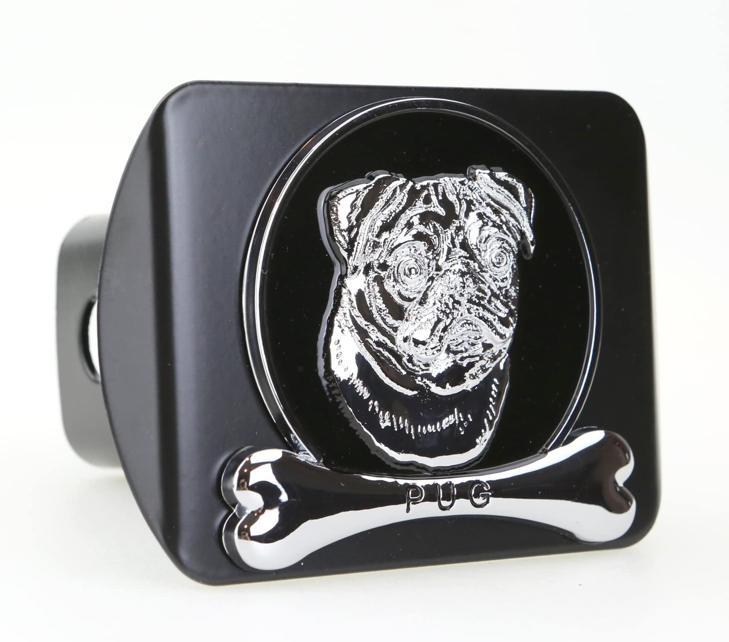 Fits 2 Receivers, Chrome Dog eVerHITCH Chrome Metal Embossed Emblem on Metal Trailer Hitch Cover