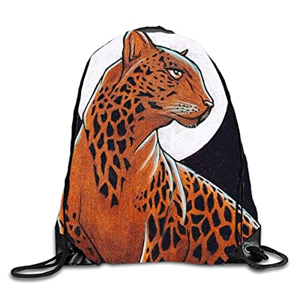 gthytjhv Mochila con cordón Night Leopard7 Lightweight Unique 16.9x14.2